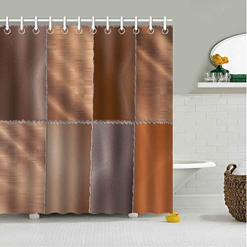 Tow Yus Dala Polyester Shower Curtain with 12 Hooks for Bath Decor-Bronze Metallic Wallpaper Checks ()