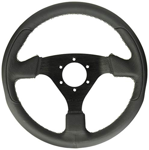 Assault Industries 100005SW0106 Black/White Stitch Tomahawk Steering Wheel with Billet Front Plate