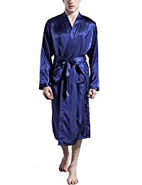 Panegy Mens Silk Robes Nightwear Long Lightweight Luxury Bathrobes Soft Pajamas