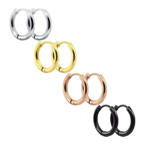 - 4 Pairs Stainless Steel Earrings Small Huggie Hoop Earrings for Women Men -18mm
