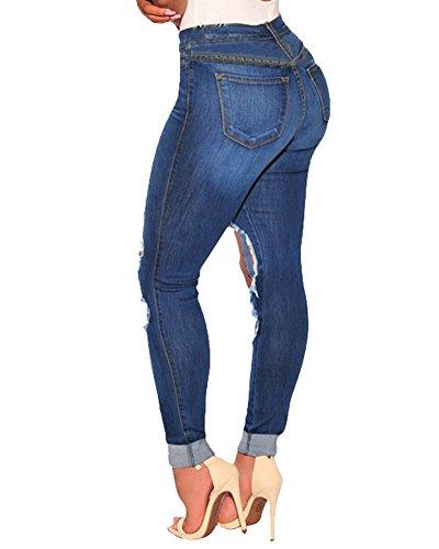 La Alta Vaqueros Slim De Elásticos Pantalones Leggings Skinny Cintura Mujer Flacos Como Imagen UPPq6R