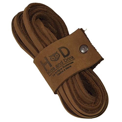 Hide & Drink Durable Thin Leather Laces For Work Boots & Dress Shoes Handmade by Toffee Suede