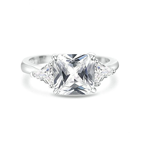 - KnSam Ring for Women Fashion Sterling Silver Ring for Women Square Zircon Silver Size 7