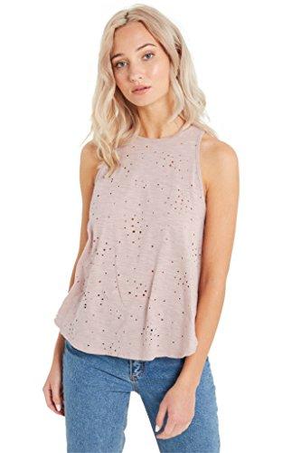 Women's Fashion Trendy Low Scoop Neck Distressed Cotton Sleeveless Tank Top Blu M