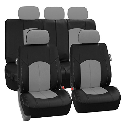 FH Group Leather Full Set Seat Covers Gray Airbag Safe PU006GRAY115 & Split Bench Ready Chevy Truck Bench Seat