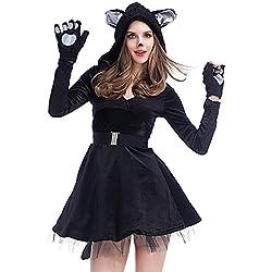MISTYU Disfraces de Horror de Halloween Disfraz de Gato Negro Sexy para Mujer Disfraz de Halloween Disfraz de Mujer Cosplay Disfraz Disfraz-L