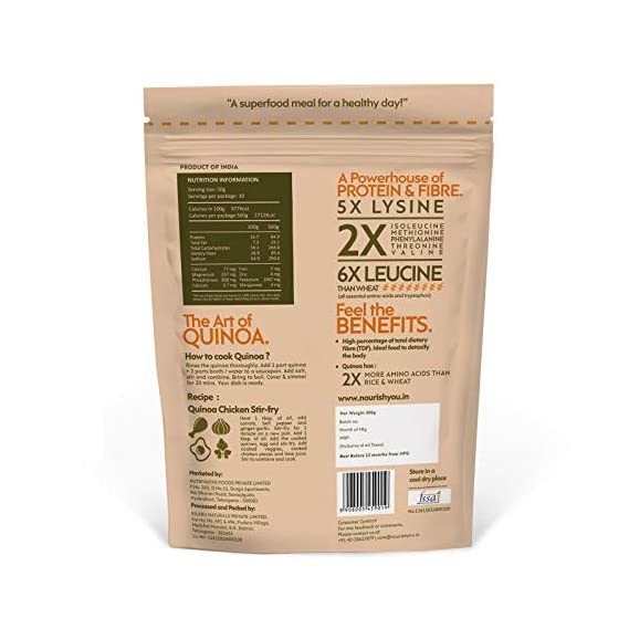 Nourish You Organic Premium White Quinoa, 500gm (Single pack)