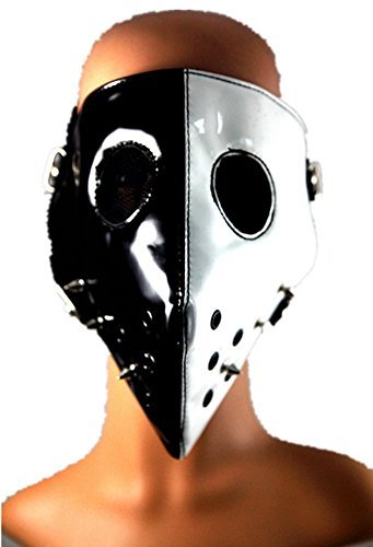 Shu li Men and women new personality spike punk black and white hit color rock show mask by Shu li