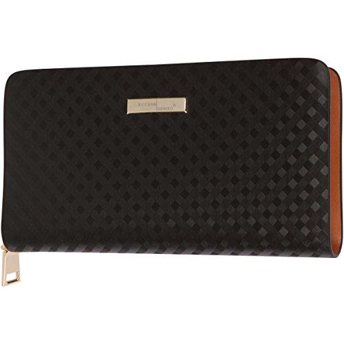 Access Denied Womens RFID Blocking Wallet Diamond Leather Secure Zip Around Clutch(Black Diamonds)