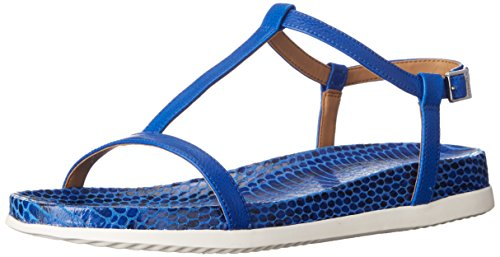 Reptile T-strap Sandal - Calvin Klein Women's DOMA Flat Sandal, Fearless Blue, 7 M US