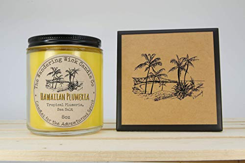 (FREE Shipping - Hawaiian Plumeria Flower and Sea Salt Scented Candle + Ceramic Coaster & Gift Card featuring my Original Artwork Drawings)