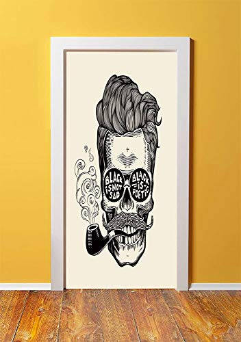(Indie 3D Door Sticker Wall Decals Mural Wallpaper,Hipster Gentleman Skull with Mustache Pipe and Eyeglasses with Inscription Vintage,DIY Art Home Decor Poster Decoration 30.3x78.9090,Black Cream)