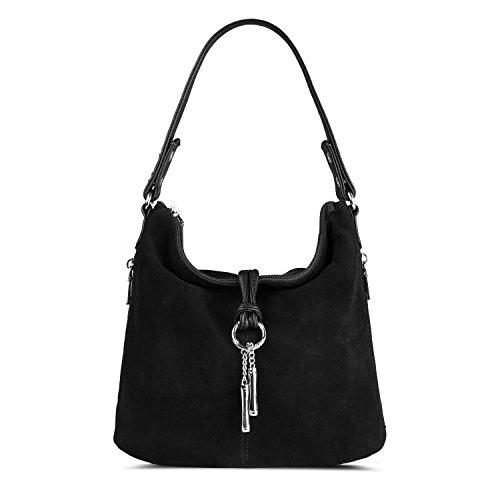 Nico Louise Women Split Real Leather Shoulder Bag Female Suede Crossbody handbag Casual Lady Messenger Hobo Top-handle Bags (Black)