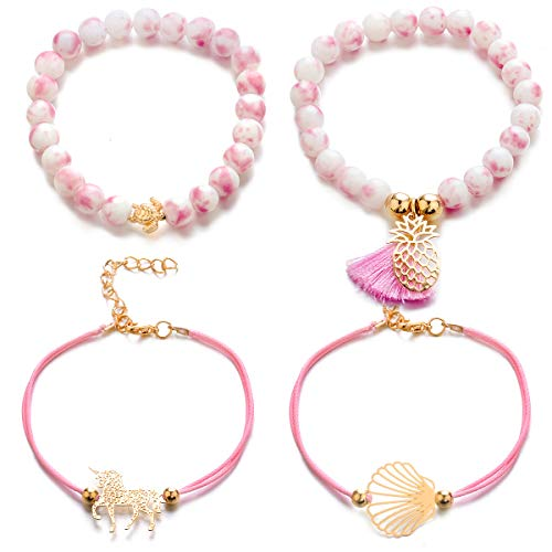 (ISAACSONG.DESIGN Bohemian Beaded Stretch Bracelet Set - Adjustable Statement Charm Link Strand Stackable Wrap Bangles for Women and Girls (4 Pcs Unicorn, Pineapple, Turtle, Tassel Set))