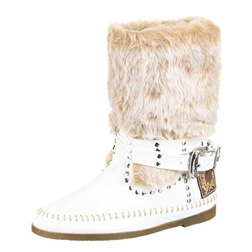 Ital-Design - Botas plisadas Mujer Blanco - blanco