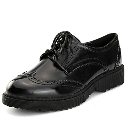 Alexis Leroy Women's Classic Wingtip Cut Out Oxford Flats Black 37 M EU / 6-6.5 B(M) US