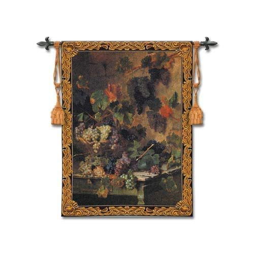 Harvest in Tuscany by Oreste Costa - Woven Tapestry Wall Art Hanging - Grape Harvest Still Life in Tuscan Villa - 100% Cotton - USA 53X39