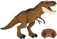 Boneco Dino, Dinossauro com Controle Remoto, Marrom, Candide
