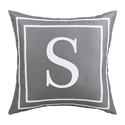 BLEUM CADE Gray Pillow Cover English Alphabet S Throw Pillow Case Modern Cushion Cover Square Pillowcase Decoration for Sofa Bed Chair Car