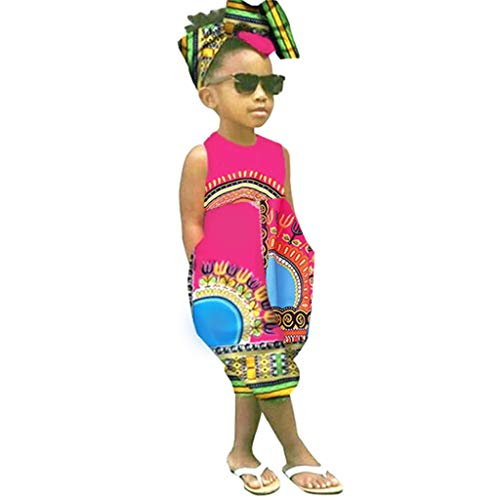 (Toddler Baby Girls Jumpsuit,Girls African Boho Outfits Print Sleeveless Romper Toddler Baggy Harem Playsuit Yamally Red)