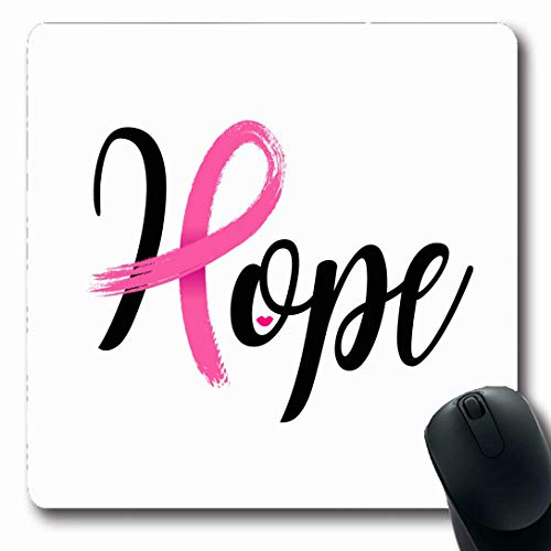 Ahawoso Mousepads for Computers October Breast Hope Lettering Pink Ribbon Brush Cancer Awareness Bow Campaign Charity Design Power Oblong Shape 7.9 x 9.5 Inches Non-Slip Oblong Gaming Mouse Pad