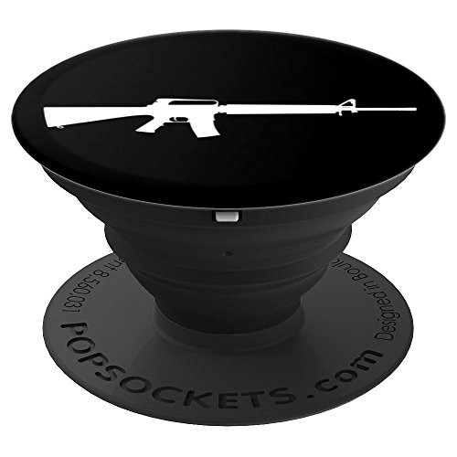 AR15 - M16 - Military Rifle Gun Design - PopSockets Grip and Stand for Phones and (M16 Collapsible)