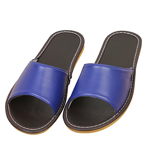 fereshte Couple Unisex Lightweight Microfiber Leathe Household Indoor Antiskid Slipper,Men Need 1-1.5 Size up Blue