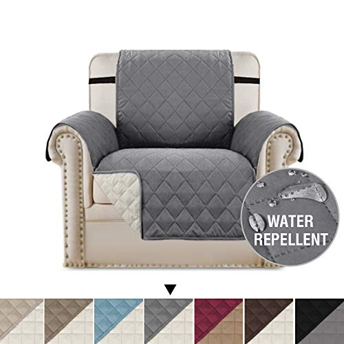 H.VERSAILTEX Reversible Chair Cover for Dogs Pet Sofa Protector Chair Slipcover 2 Thick Straps Slip-Resistant Chair Protector Machine Washable, Soft Quilted Cotton Alike (Chair: Gray/Beige)