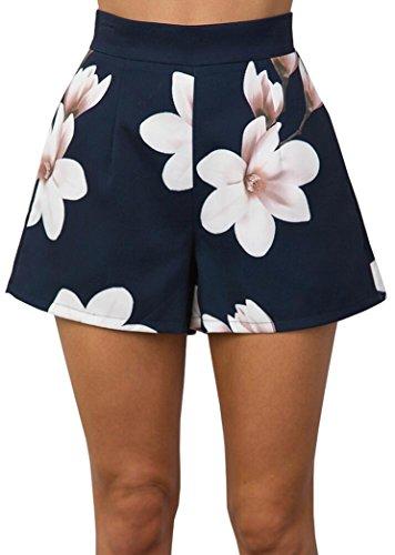 Hot Estivi Pants Fiori Casual Navy Pantaloni Corti a Shorts Vita Donne Stampa Yeesea Alta CaUgpqw