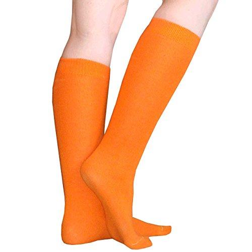 Chrissy's Socks Women's Thin Solid Knee High Socks 7-11 Orange]()