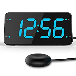 Dual Alarm Digital Clock with Pillow Bed Shaker, Loud Alarm, USB Charger, Perfect for Heavy Sleepers, Bedroom and Dorm Room – Ocean Blue