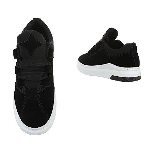 Ital-Design Sneakers Low Damenschuhe Sneakers Low Sneakers Schnürsenkel Freizeitschuhe Schwarz FBK-119