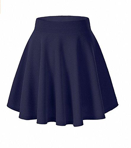 Afibi Girls Casual Mini Stretch Waist Flared Plain Pleated Skater Skirt (Large, Navy (Pleated Girls Skirt)