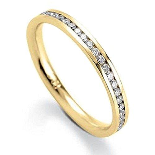 Bague en or jaune et demi-tour diamants ronds 0,25carat