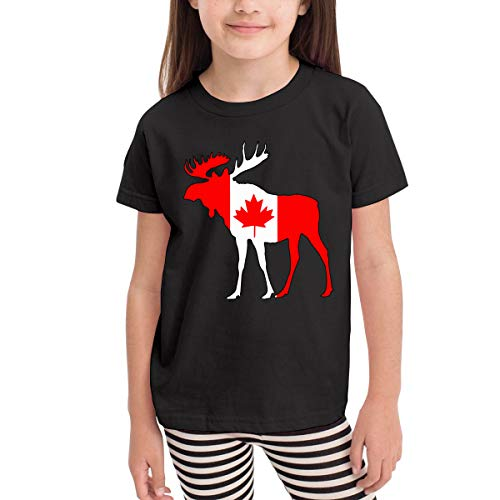 SHIRT1-KIDS Canada Flag Moose Costume Toddler/Infant Crewneck Short Sleeve Shirt T-Shirt for 2-6 Toddlers -