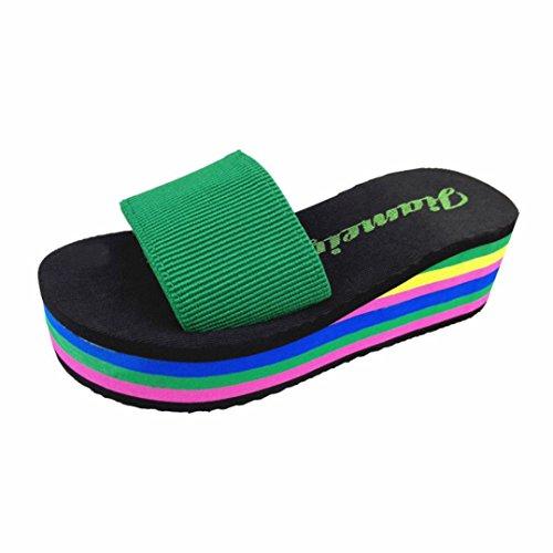 Women Open Toe Slippers, Women's Ergonomic Summer Flip-Flop Sandals Thick Bottom Platform Pump Beach Shoes (Green, US:8 (40)) (Colorful Dansko Shoes)