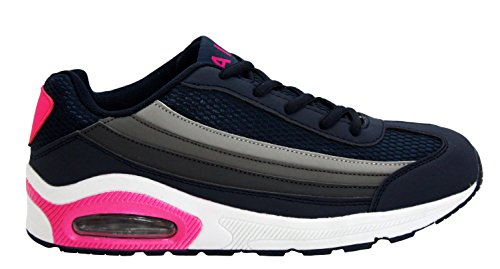 Womens Ladies Air Tech Girls Lace Up Shock Absorbing Running Fitness Sports Gym Trainers Shoes Sizes UK 4-8 Navy/Grey/Pink FDKvha1S