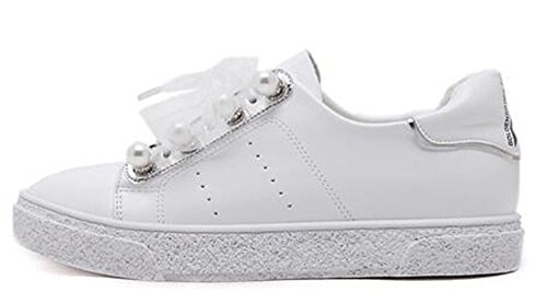 Pearls Inside Women's Top Up Sneaker Low White Heels Lace With Fashion IDIFU wUEv16qWwa