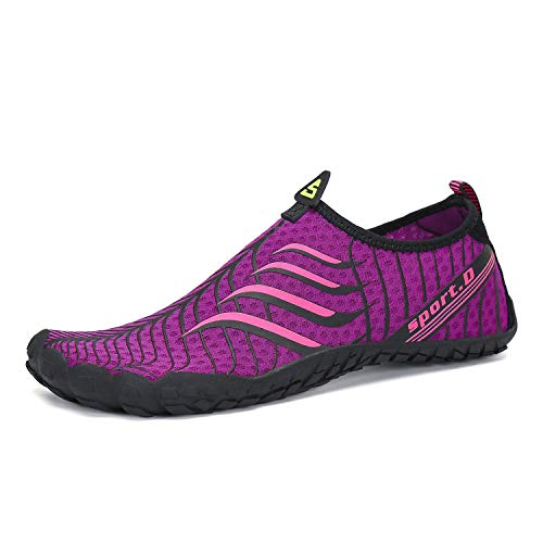 Seabone Mens Womens Minimalist Gym Trail Running Athletic Beach Waterfall Climbing Outdoor Shoes Wide Toe Box Barefoot Inspired Purple 8 M US Women / 6.5 M US Men ()