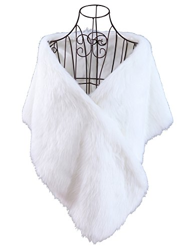 Curve Faux Fur Shawl Wrap Stole Cape for Women, White by Just-Best