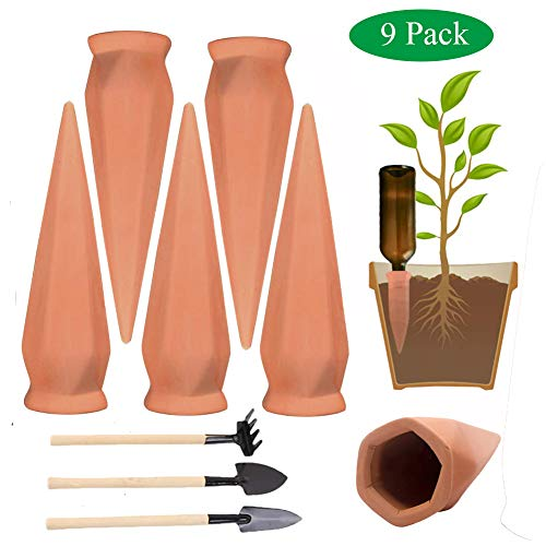 Plant Waterer Self Watering Spikes, 6 Pcs Terracotta Plant Watering Wine Bottle Stakes for Indoor Outdoor Plants, Vacation Automatic Irrigation Watering - Bottle Stakes