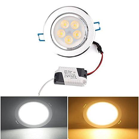 zhuotop 5 W 5 LED SMD Foco empotrable de techo lámpara bombilla luz w/controlador 110 V - 220 V: Amazon.es: Iluminación