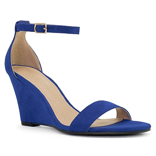 (RF ROOM OF FASHION Women's Ankle Strap Low to Mid Wedge Sandals Blue (6.5))