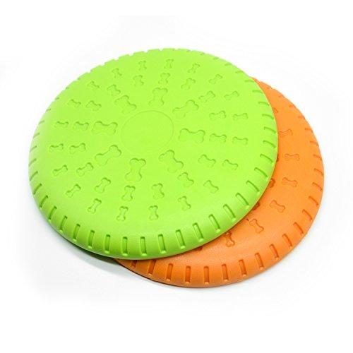Kuorle Dog Frisbee, Rubber Flyer Dog Flying Disc Dog Toys, 9 Inch Large Orange & Green (2 Pack) (2 packs)