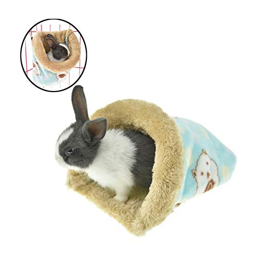 Stock Show Small Animal Sleeping Bag Winter Warm Soft Flannel Small Animal Bed House Hammock for Hedgehog Hamster Bunny Guinea Pig Rat Nest Cage Decor Accessory, Light Blue