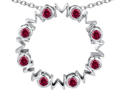 Star K Large MOM Circle Mother's Pendant Necklace with Round Created Ruby Sterling Silver