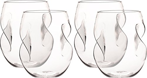 Freestyle Stem - Shatterproof Stemless Wine Glasses 16 Oz - Reusable Unbreakable Plastic Self Aerating Wine Cups - Dishwasher Safe, Bpa-free - Set Of 4 By Mindful Design (Clear)