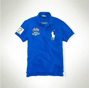 edd07b77 Ralph Lauren track and field polo Sweden Blue Medium: Amazon.co.uk: Clothing
