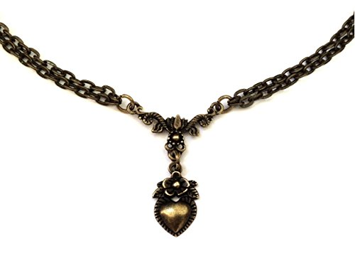 8th Wedding Anniversary Gifts for Her - Vintage Heart Bronze Necklace - 8 Years (Bronze) Wrapped & Gift (Gift Wrapped Heart)