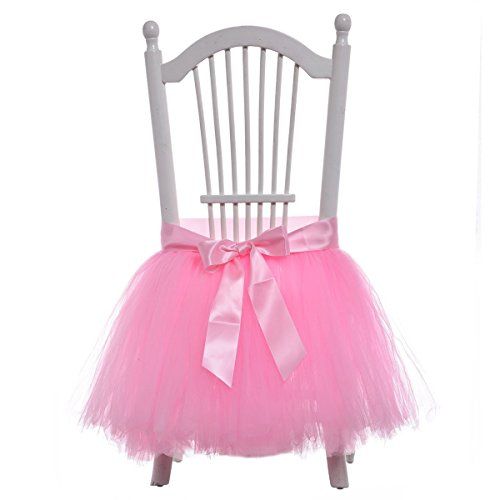 Beyonder Handmade Tulle Tutu Chair Skirt with Sash Bow for Party, Wedding  Home Decoration (Pink)